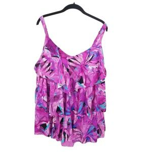 swimsuits for all floral Layered Tankini Swim Top